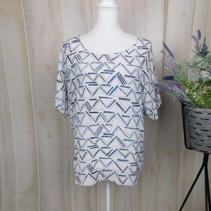 Partimi Silk Blue Geometric Blouse